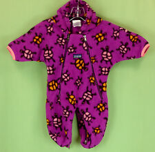 251 Patagonia baby girl turtle snowsuit fleece bunting hood EUC S 0-12 month