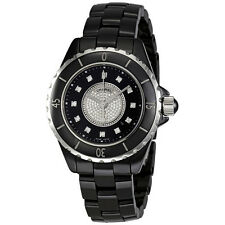 Chanel J12 Black Dial Ceramic Diamond Ladies Watch H2122