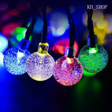 IP44 5M 30LED Crystal Ball Solar Powered String Lights Rope Outdoor/Indoor Xmas