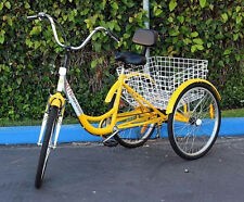 "New MTN Yellow Trike Cruise 6-Speed 24"" Adult Tricycle Bicycle Bike W/ Basket"