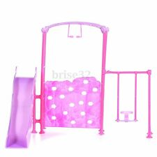 Plastic Slide Swing Climber Playground Dollhouse For Kid Baby Girl Barbie Doll