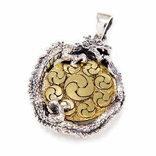 YIN & YANG DRAGON MEDALLION 925 STERLING SILVER MEN BIKER ROCKER PENDANT gb-161