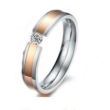 Men's Unisex Stainless Steel Ring Gold Zirconia Band Size 8 L36