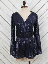 New Altar'd State Medium Black MADISON AVENUE SEQUIN ROMPER Dress Top Short