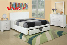 Modern Storage Full Bed White Color Tufted Faux Leather HB Bedroom 1pc Bed