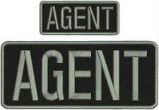 """agent embroidery patches  4x10 and 2x5""""  hook on back  Gray Letters"""