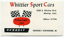 """Old Business Card: """"WHITTIER SPORTS CARS"""" [So. Calif]"""
