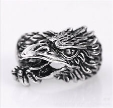 Fashion Men's 316L Stainless Steel Gothic Eagle head sliver Punk Rings Size-9