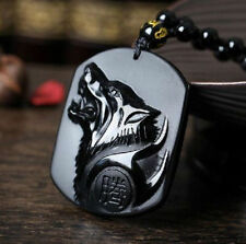 natural obsidian hand carved Wolf head lucky pendant necklace LT01