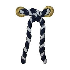 ID 2686C Striped Nautical Rope Cord Knot Tie Embroidered Iron On Applique Patch