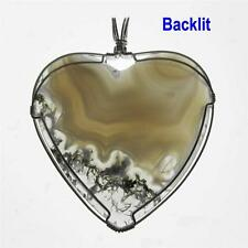 Sterling Silver Wire Wrapped Light Green Moss Agate Heart Pendant