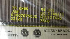 50 Allen Bradley Carbon Comp Resistors  75 OHMS  1/4 watt  5%               NOS