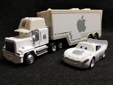 Custom Disney Pixar Cars White Apple Lightning Mcqueen & Hauler Truck 1/55 set