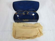 Antique Detailed Wire-Rim EYE GLASSES & CASE w Doctor Name 10/01 12KGF ~GoldFill