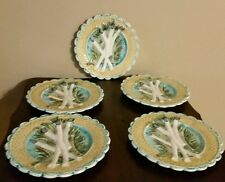 Antique French Keller and Guerin Luneville Barbotine Majolica Asparagus Plates.