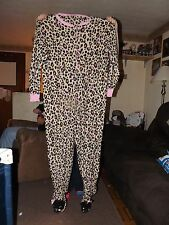 Leopard Footed Fleece Pajamas -- NEW -- Junior Size L (11/13)