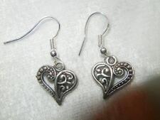 Pretty Filigree Silver Heart Earrings
