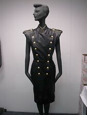 VTG 1980s MICHAEL HOBAN NORTH BEACH BLACK LEATHER DRESS w GOLD BUTTON SNAPS XS