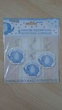 Elephant Baby Shower hanging decorations (blue)