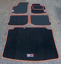 Car Mats in Black/Red Trim to fit VW Golf Mk4 + Boot Mat + V5 Logos (Silver/Red)