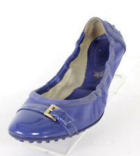 TOD'S Periwinkle Leather Buckle Detail Cap-Toe Elastic Ballet Flats 40