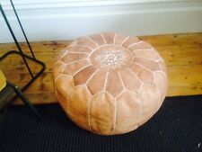 **Small Scuff Marks** Moroccan Leather Ottoman Pouffe Pouf Footstool - Light Tan