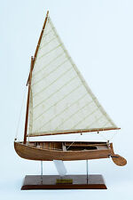 "Dinghy (Dingey) Rowboat 11"" Handcrafted Wooden Sailboat Model"