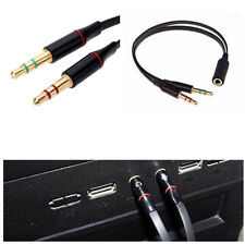 Y-Splitter 1 Female to 2 Male 3.5mm Mic Stereo Audio Adapter Audio Cable For PC