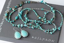 Silpada SET Turquoise Pyrite Howlite Necklace N3123 Make a Splash Earrings W3159