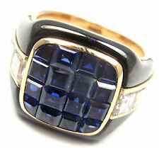 Authentic! Piaget 18k Yellow Gold Diamond Invisible Set Sapphire Enamel Ring
