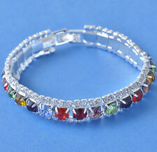 Around Multicolor Swarovski Crystal 9k white gold filled Womens Bracelet  F5904