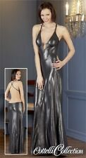 CC FINE Lingerie Collection Abendkleid bodenlang in Silbergrau Strass in L