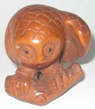 Lovely Boxwood Netsuke: Owl Standing On Tree
