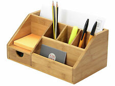 Bamboo Stationery Organiser Letter Rack Notes Pen Pencil Holder