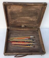 Vintage Durable Wooden Painter's Case With Few Painting Brushes Inside
