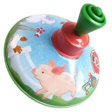 5 Inch Classic Childs Toy Farm Metal Spinning Top