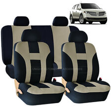 BEIGE & BLACK DOUBLE STITCH SEAT COVERS 8PC SET for LINCOLN MKZ MKT MKX