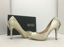 Badgley Mischka Cali Ivory Satin Women's Evening High Heels Open Toe Pumps US 6