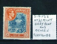 Jamaica 1938 5/- SG132 grey blue and Ochre 14x13.8 perf lightly hinged