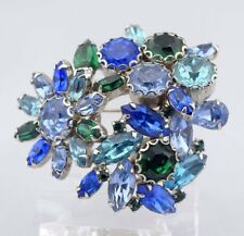 Geniune 1950s VTG Large Signed WEISS 3D Rhinestone Brooch Pin Green Blue Tiered