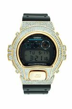 14K Yellow Gold Plated Iced out Bling Lab Diamond Casio G-Shock DW6900 Hip Hop