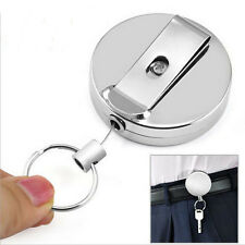 1Pcs Full Metal Keychain Stainless Steel Retractable Key Recoil Pull Chain New