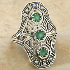 GENUINE EMERALD .925 STERLING VINTAGE ART DECO STYLE SILVER RING SIZE 9,    #753