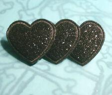 BLACK GLITTER HEARTS BROOCH PIN 3 BLACK HEARTS