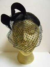 Vtg 1950-60 Black Velvet Veiled Hat Topper with Sculpted Bow Fascinator Higbees