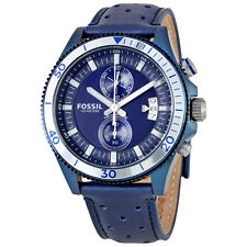 Fossil Wakefield Blue Dial Blue Leather Quartz Mens Watch CH3012