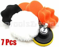 """7pc 3"""" Auto Car Polish Wax Foam Sponge Pad Polisher Buffer Kit Drill Adapter Set"""