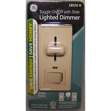 GE Dimmer Toggle On Off Slide Lighted 3 Way Single Light Switch Color:Ivory  NEW