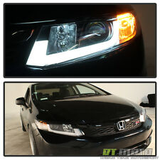 Black 2012-2015 Honda Civic LED Light Tube Projector Headlights Left+Right 12-15