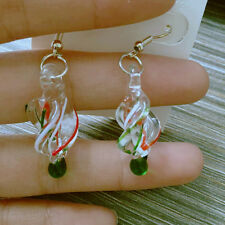 Silver plated Fashion Art Lampwork Murano Glass Pendant Dangles Earrings